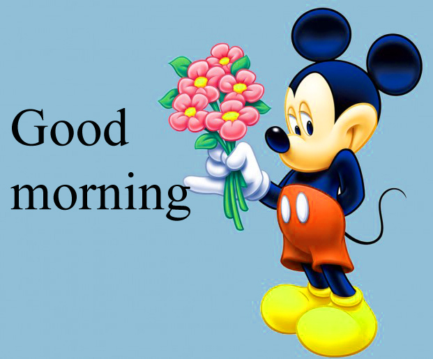 Good morning  wishes with mickey Photo Wallpaper Images Free Download