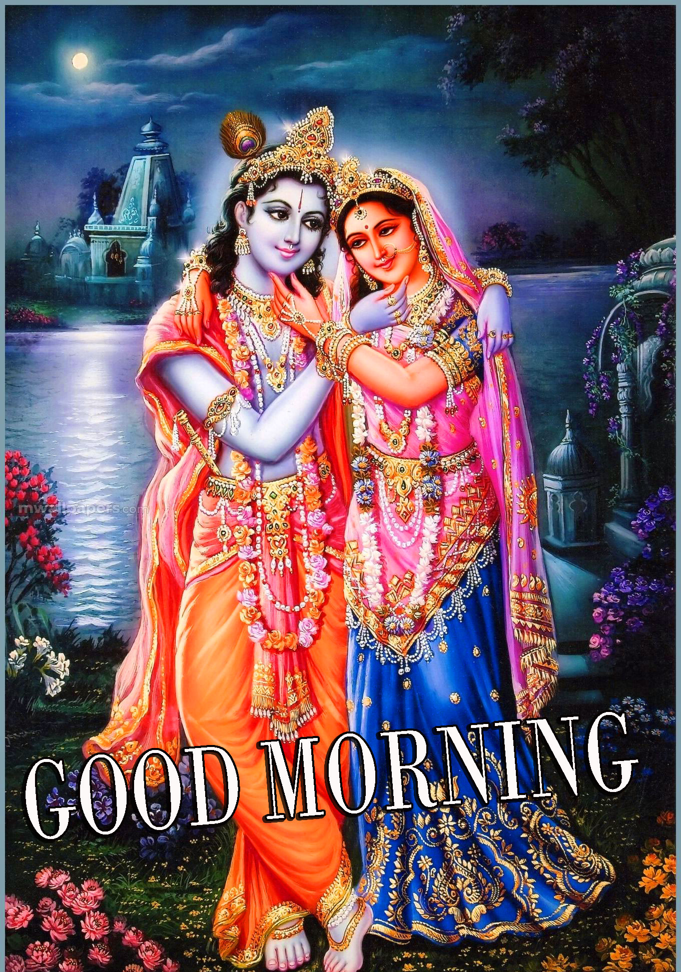 Radha Krishna Images With Love Hindi Quotes Good morning Photo Pictures Wallpaper Free HD