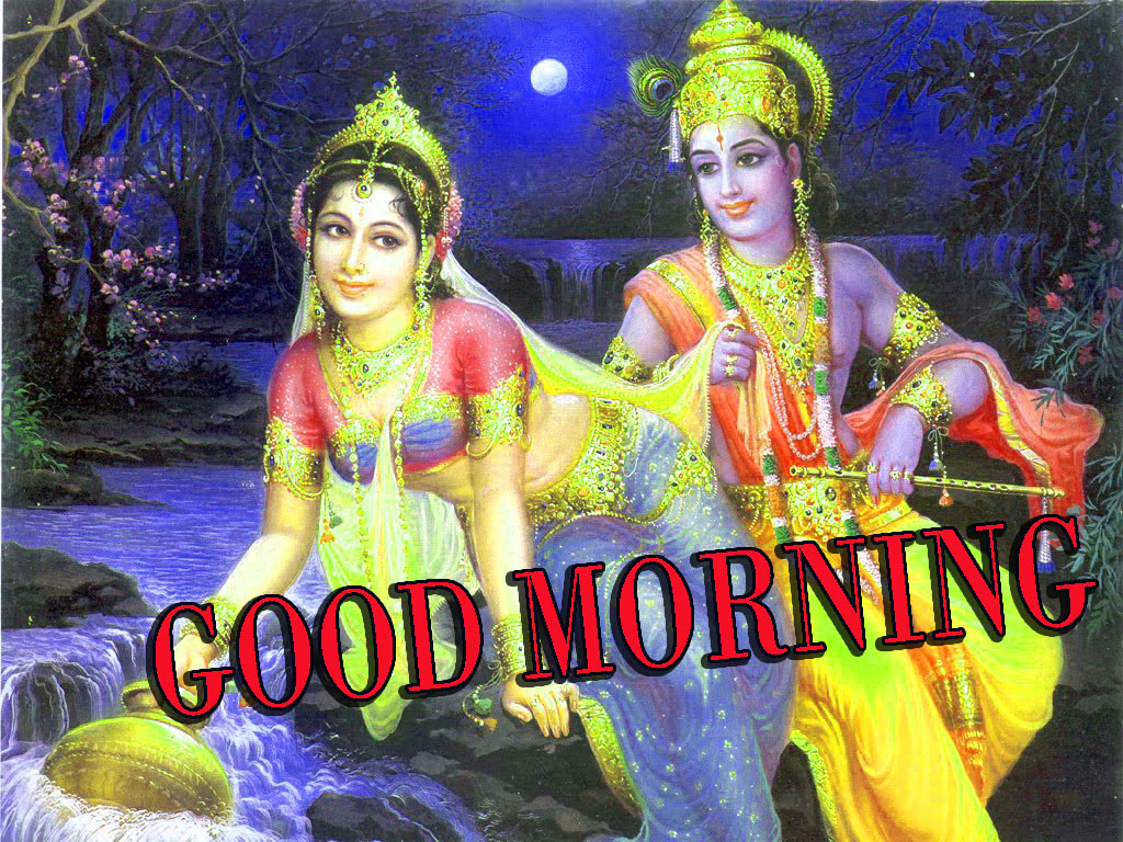 Radha Krishna Images With Love Hindi quotes good morning Photo Pictures Download