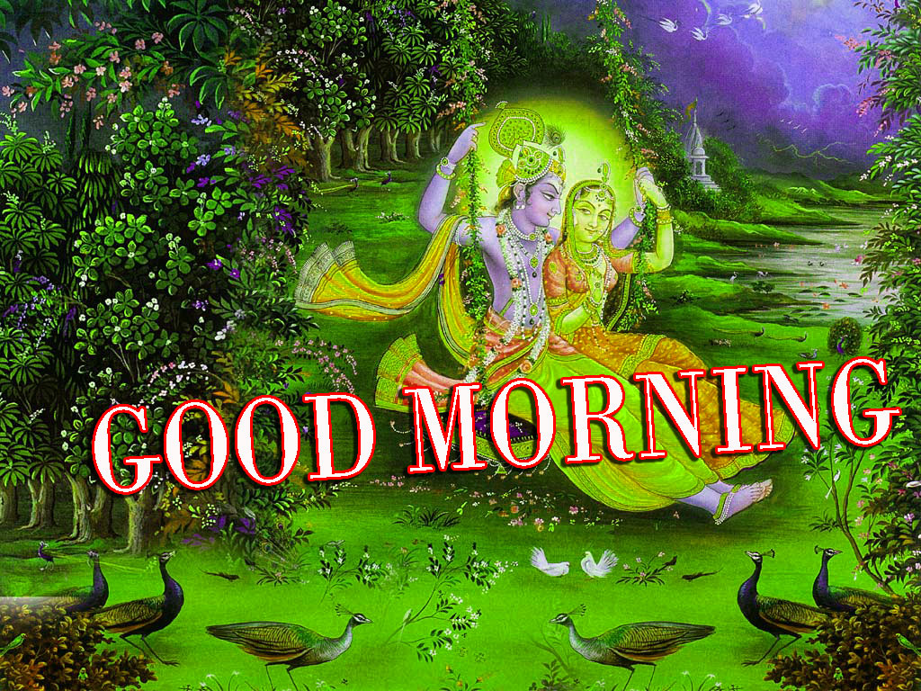 Radha Krishna Images With Love Hindi Quotes Good morning Photo Pictures Wallpaper Free Download