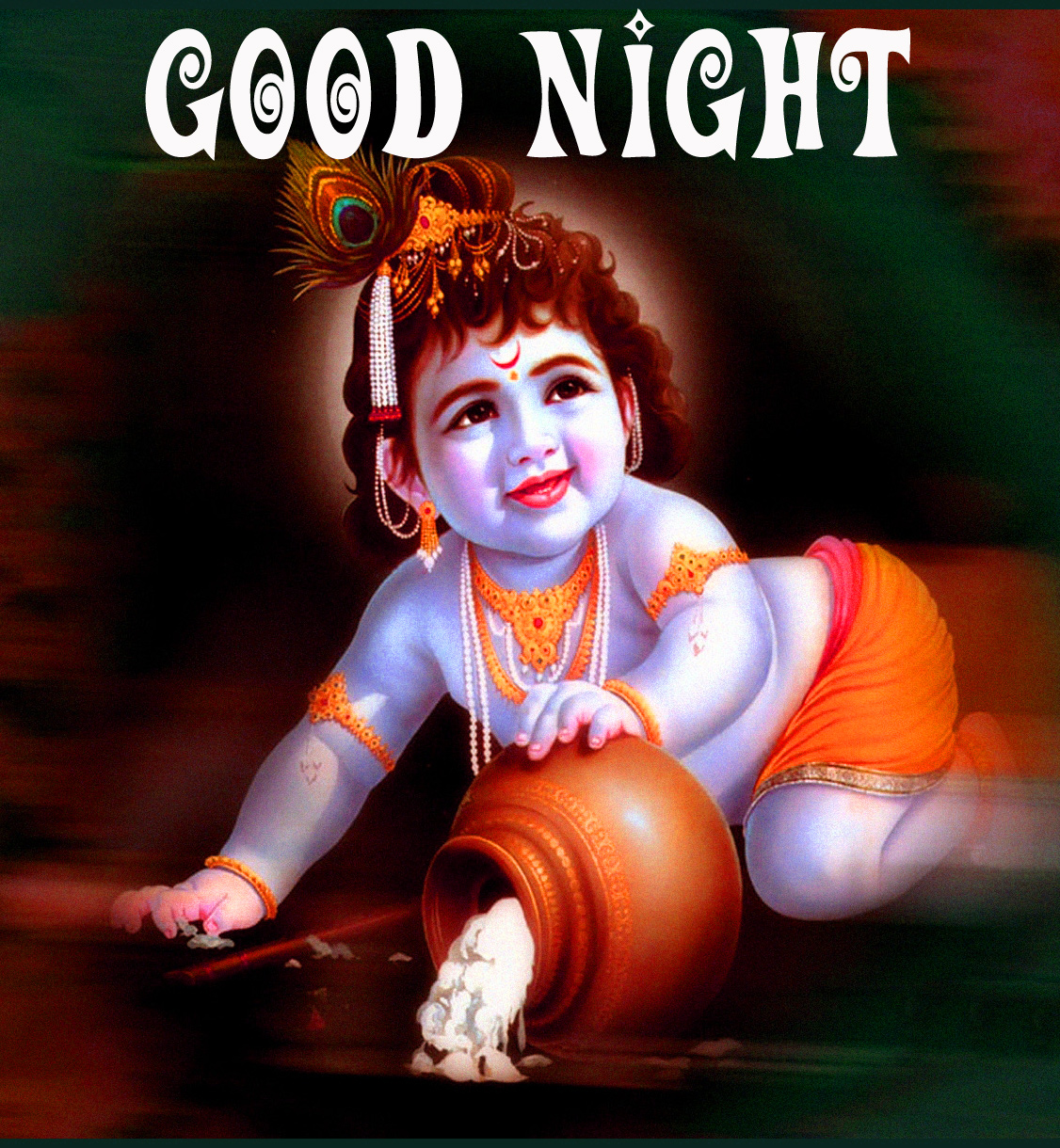 God Good Night Images pics With Krishna